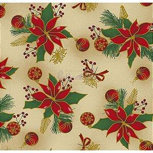 Tricoline Natal Floral com Bolas (Bege), 100% Algodão, Unid. 50cm x 1,50mt