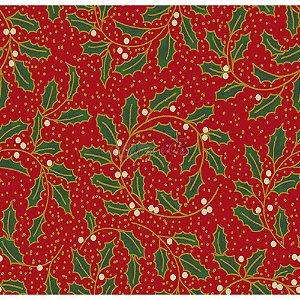Tricoline Natal Ramos com Folhas (Vermelho), 100% Algodão, Unid. 50cm x 1,50mt
