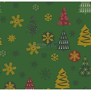 Tricoline  Arvore de Natal e Flocos (Verde), 100% Algodão, Unid. 50cm x 1,50mt