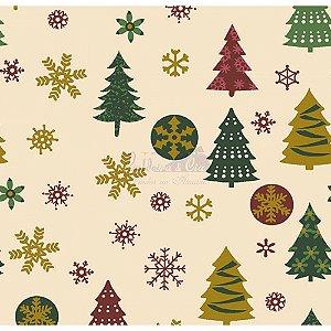 Tricoline  Arvore de Natal e Flocos (Bege), 100% Algodão, Unid. 50cm x 1,50mt