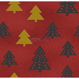 Tricoline Estampado Arvore de Natal (Vermelho), 100% Algodão, Unid. 50cm x 1,50mt