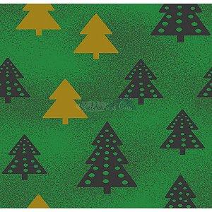 Tricoline Estampado Arvore de Natal (Verde), 100% Algodão, Unid. 50cm x 1,50mt