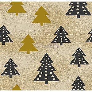 Tricoline Estampado Arvore de Natal (Bege), 100% Algodão, Unid. 50cm x 1,50mt