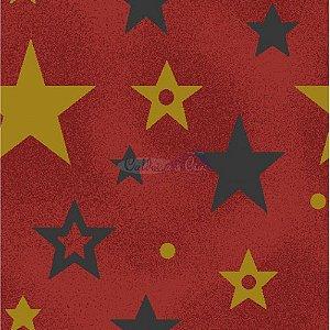 Tricoline Estampado Natal Estrelas (Vermelho), 100% Algodão, Unid. 50cm x 1,50mt