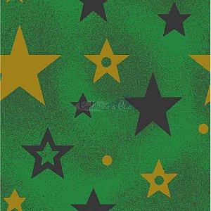 Tricoline Estampado Natal Estrelas (Verde), 100% Algodão, Unid. 50cm x 1,50mt