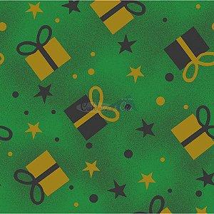Tricoline Natal Caixas de Presente (Verde), 100% Algodão, Unid. 50cm x 1,50mt