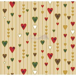 Tricoline Estampado Natal Corações (Bege), 100% Algodão, Unid. 50cm x 1,50mt
