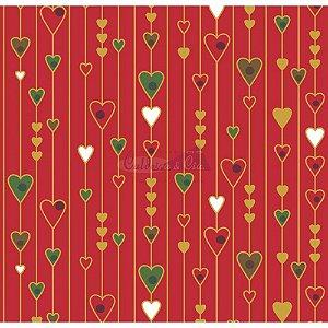 Tricoline Estampado Natal Corações (Vermelho), 100% Algodão, Unid. 50cm x 1,50mt