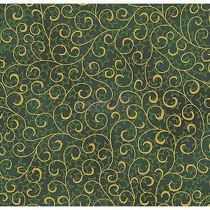 Tricoline Estampado Natal Ramos (Verde), 100% Algodão, Unid. 50cm x 1,50mt