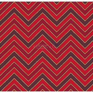 Tricoline Estampado Natal Chevron (Vermelho), 100% Algodão, Unid. 50cm x 1,50mt