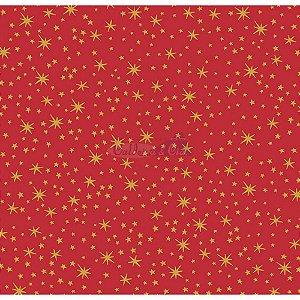 Tricoline Natal Mini Estrelinhas (Vermelho), 100% Algodão, Unid. 50cm x 1,50mt