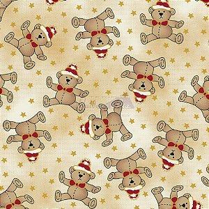 Tricoline Estampado Natal Ursinhos (Bege), 100% Algodão, Unid. 50cm x 1,50mt