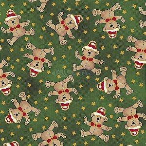 Tricoline Estampado Natal Ursinhos (Verde), 100% Algodão, Unid. 50cm x 1,50mt