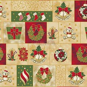 Tricoline Natal Enfeites Natalinos (Bege), 100% Algodão, Unid. 50cm x 1,50mt