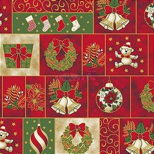 Tricoline Natal Enfeites Natalinos (Vermelho), 100% Algodão, Unid. 50cm x 1,50mt