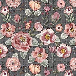 Tricoline Digital Floral Sweet Escuro, 100%Alg, 50cm x 1,50m