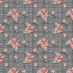 Tricoline Digital Mini Floral Sweet Grafite, 50cm x 1,50mt