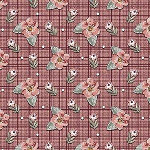 Tricoline Digital Mini Floral Sweet Vinho, 50cm x 1,50mt