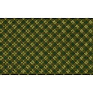 Tricoline Natal Xadrez Verde - 100% Algodão, 50cm x 1,50mt