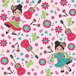 Tecido Tricoline Menina Dançando Rosa, 100%Alg, 50cm x 1,50m