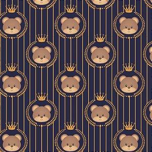Tecido Tricoline Ursinho com coroa, 100%Algod, 50cm x 1,50m