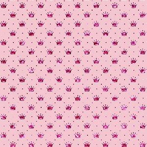 Tricoline Coroa Rosa Fundo Rosa, 100% Algodão, 50cm x 1,50mt