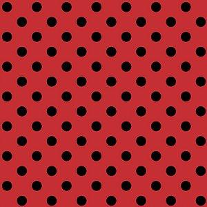 Tricoline Poá Médio Peri Preto Fundo Vermelho, 50cm x 1,50m