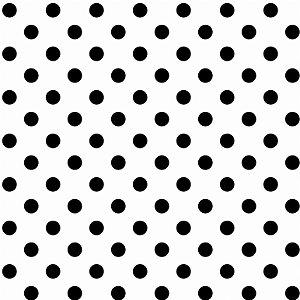 Tricoline Poá Médio Peri Preto Fundo Branco, 50cm x 1,50m