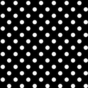 Tricoline Poá Médio Peri Branco Fundo Preto, 50cm x 1,50m