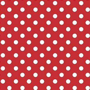 Tricoline Poá Médio Peri Branco Fundo Vermelho, 50cm x 1,50m