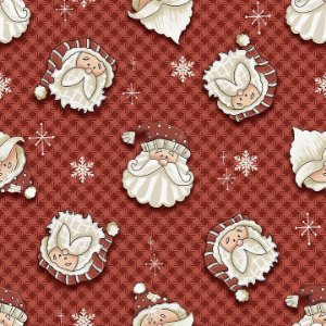 Tricoline Natal Digital Rostos Noel F Vermelho, 50cm x 1,50m