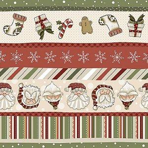 Tricoline Natal Digital Faixas, 100%Algodão, 50cm x 1,50mt