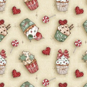 Tricoline Natal Digital Cupcake, 100% Algodão, 50cm x 1,50mt