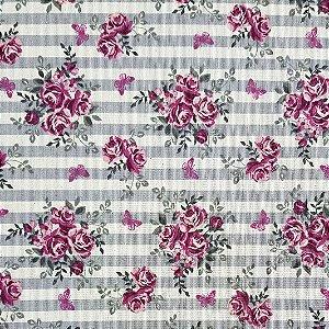 Cotton Linen Floral, 80% Algodão 20% Linho, 50cm x 1,52mt