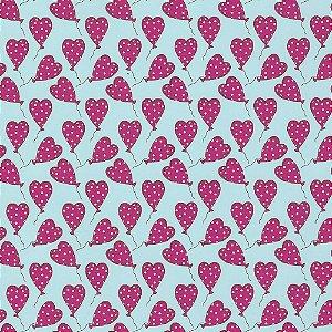Tricoline Balões de Corações, 100% Algodão, 50cm x 1,50mt