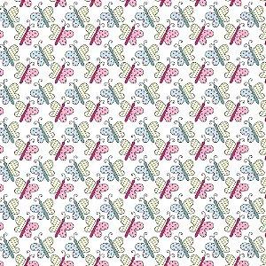 Tecido Tricoline Borboletinhas, 100% Algodão, 50cm x 1,50mt
