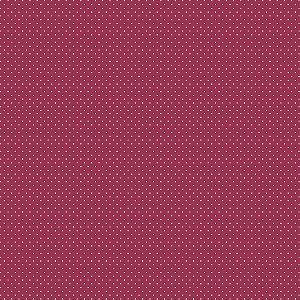 Tecido Tricoline Poá Cereja, 100% Algodão, 50cm x 1,50mt