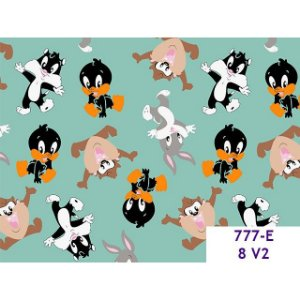 Tricoline Personagem Mini Looney Tunes F. Verde, 100% Algodão, 50cm x 1,50mt