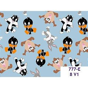 Tricoline Personagem Mini Looney Tunes F. Azul, 100% Algodão, 50cm x 1,50mt