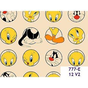 Tricoline Personagem Piu Piu e Frajola Fundo Amarelo Claro, 100% Algodão, 50cm x 1,50mt