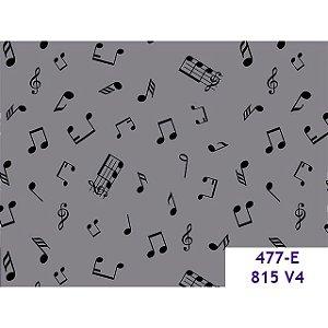 Tricoline Notas Musicais Cinza, 100% Algodão, 50cm x 1,50m