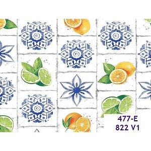 Tricoline Azulejos de Frutas, 100% Algodão, 50cm x 1,50mt