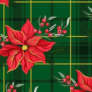 Tricoline Natal Xadrez Floral Verde, 100% Algod 50cm x 1,50m