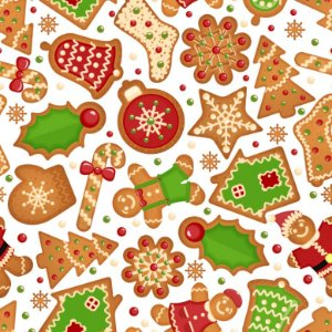 Tricoline Natal Biscoitos Natalinos, 100%Algod, 50cm x 1,50m