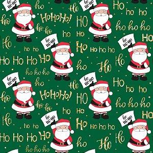 Tricoline Natal Plaquinhas Ho Ho Ho F. Verde, 50cm x 1,50mt