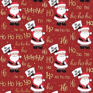 Tricoline Natal Plaquinhas Ho Ho F. Vermelho, 50cm x 1,50mt