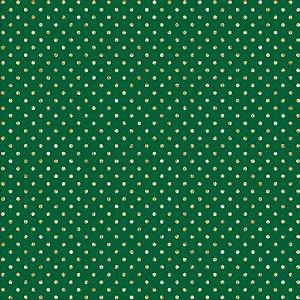 Tricoline Natal Poá Dourado F Verde, 100% Algod 50cm x 1,50m