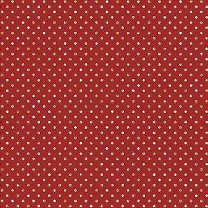 Tricoline Natal Poá Dourado F Vermelho, 100%Alg 50cm x 1,50m