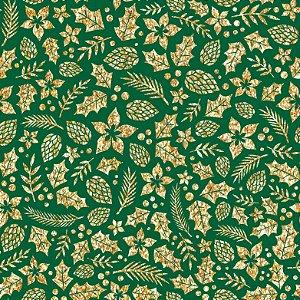 Tricoline Natal Folhagens Douradas F Verde, 50cm x 1,50mt