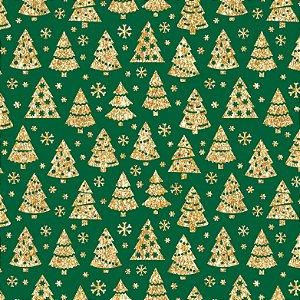 Tricoline Natal Árvores Douradas F Verde, 50cm x 1,50mt